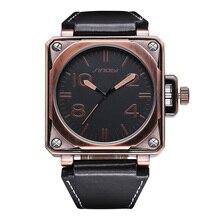 Sinobi Big Square Dial de bronce antiguo del reloj hombres marca de lujo kol saati correas de cuero relojes Relogio Masculino Orologi Da Uomo