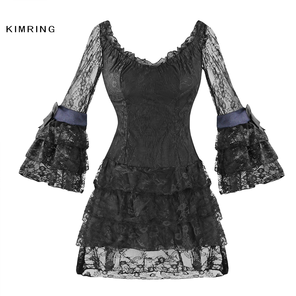 Kimring Sexy Women Lace Corsets Dress Gothic Black Bodycon ...