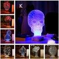 Envío gratis 11 diseño 3D que cambia de Color de madera del estado de ánimo de lámpara de acrílico de la ilusión 3D USB lámpara de mesa de luz LED de la noche