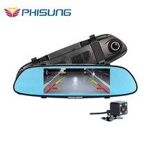 6.5 pouces Deux Vue Fractionnée Affichage HD1080P voiture dvr miroir Double Objectif G-sensor Enregistrement En Boucle parking dash cam vidéo registrator voiture