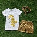 Bebé girls boutique ropa para niñas sirena trajes cortos ropa de verano con diadema a juego