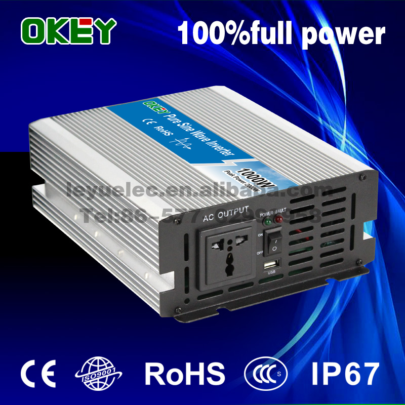 off grid home solar system 1000w 12v to 220v DC/AC type power inverter CE ISO9001 pure sine wave inverter with European socket