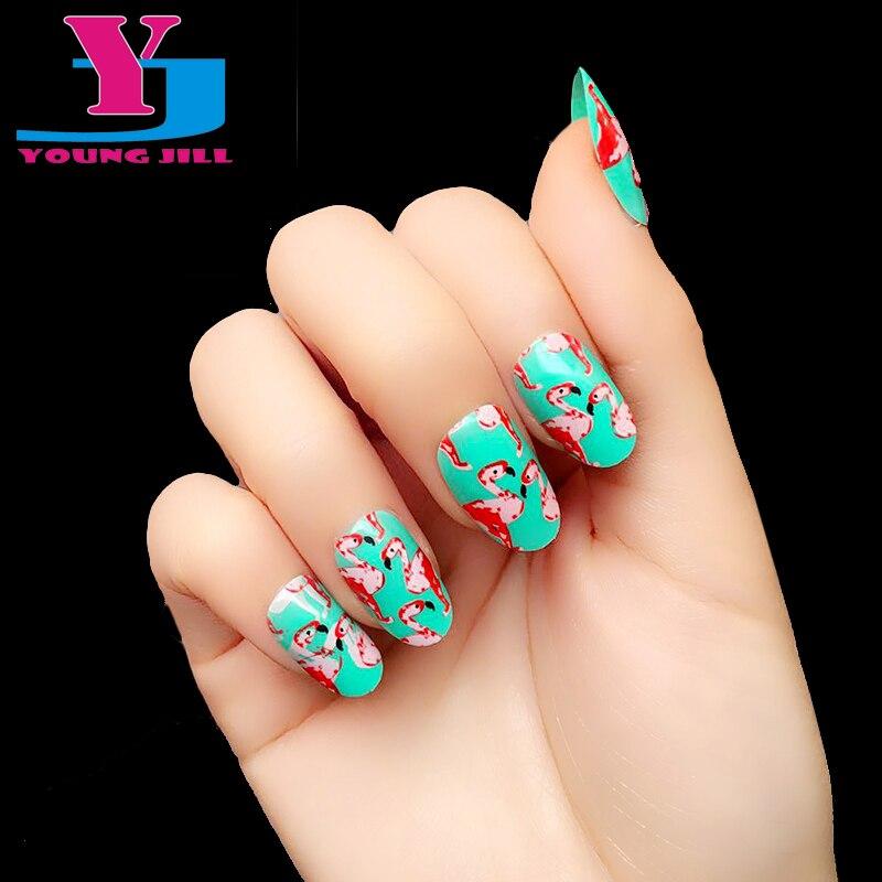 Hot Flamingo Fake Nail Tips High Quality UV Gel Full Cover ...