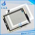 1 unidades el envío libre negro blanco nuevo táctil de piezas de repuesto digitalizador pantalla táctil del panel para el ipad 2 con botón con adhesivo