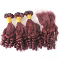 99J Brazilian Virgin Hair Bundles With Closure Funmi hair style Virgin Hair With Closure Brazilian Dark Red Hair s 4 Pcs Lot