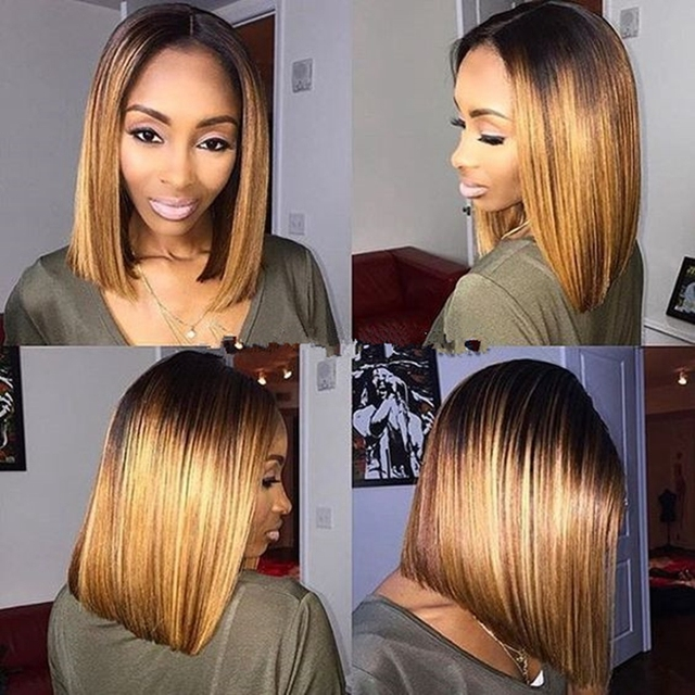 Aliexpress.com : Buy 180% Middle Part Sexy Straight Blond Bob Wig Synthetic Lace Front Glueless ...