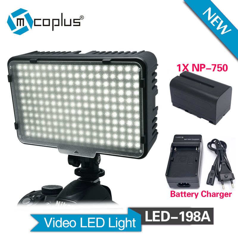 Mcoplus 198 LED Video Light with 1x NP-F750 battery & Charger for DV Camcorder Canon Nikon Sony Panasonic Olympus DSLR Camera pixle vertax d14 battery grip as mb d14 for nikon dslr d600 d610 camera