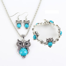 3 Pcs/set New Classic  Owl Earrings Necklace Bracelets Anima Necklaces Earrings Jewelry Sets