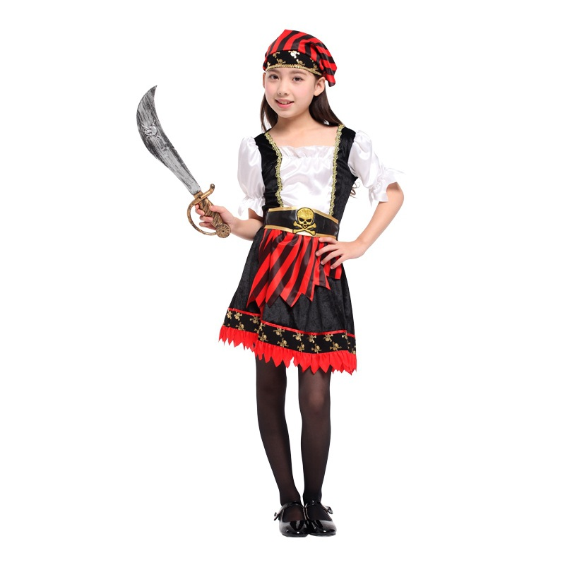 M XL Girls Halloween Pirate Costume Kids corsair Cosplay Sai