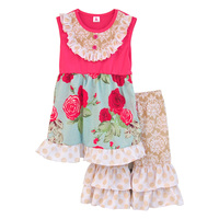 New Design Kids Summer Outfits Floral Swing Top Ruffles Shorts Boutique Matching 2 Pcs Kintted Cotton Clothing Sets S085