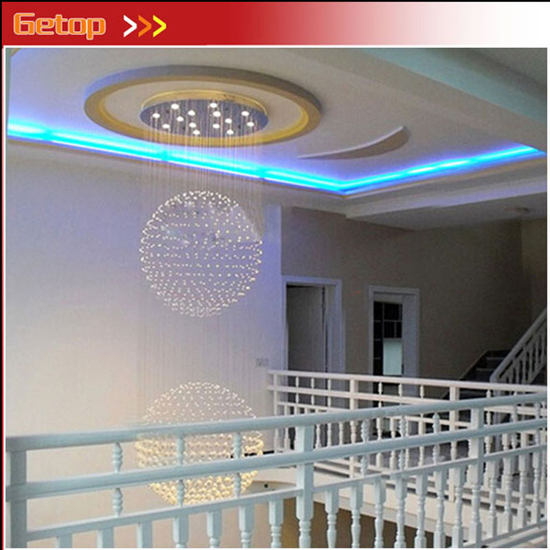 GETOP Modern Crystal Ceiling Light Villa Double Entry Building Stairs Lamp Stateroom Lamp K9 Crystal Ball GU10 LED Chandelier купить в Москве 2019