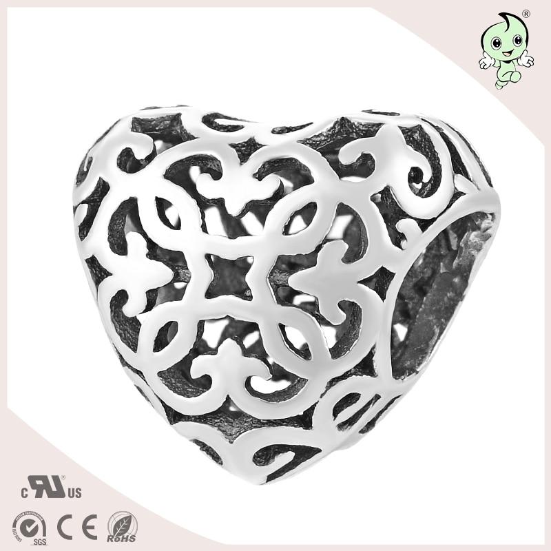 bbd11c1f4a32 Graceful hueco corazón forma joyería única S925 plata esterlina encanto de  la mujer