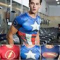 Marvel Super Hero Капитан Америка Бэтмен Железный человек супермен футболка мужчины Броня Базовый Слой С Коротким Рукавом Тепловые Под Топ футболка