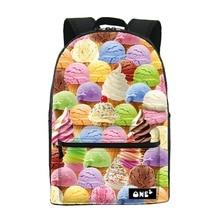 2016 ONE2 Дизайн мороженое pattern печать производителей китая рюкзак нейлон мешок школы и дешевый рюкзак для девочек-подростков