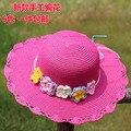 Chapeau Hot Sale Sombreros Spring New Pretty Baby Girls Paper Hat Children Crochet Flower Sun Hats Summer Cap Kids Beach