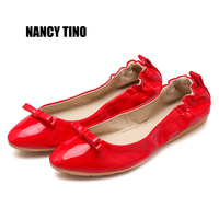 NANCY TINO 2017 Summer Fashion Patent Leather Women Flats Shallow Comfortable Women Shoe Casual Moccasins Spring