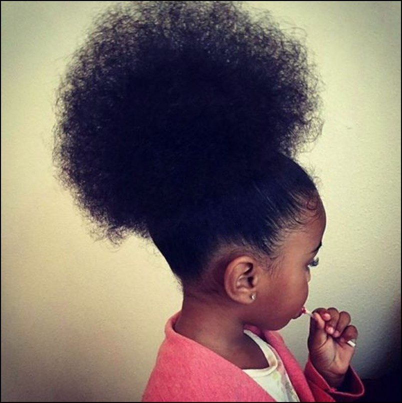 Afro Kinky Curly Human Hair Drawstring Ponytail For Kid