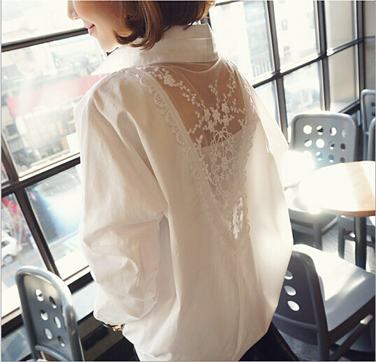 Spring Women Lace Stitching Cotton Shirt Long-sleeved Back Hollow Out White Ladies Blouse