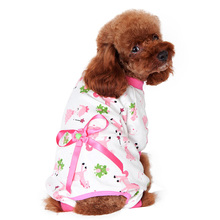 Small Pet Canines Cartoon Bowknot Pajamas Coat Cat Canine Pet Garments Jumpsuits