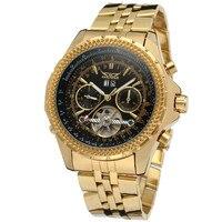 JARAGAR Tourbillon Auto Date Male Clock Mens Watches Golden Case Automatic Men Watch Mechanical Wristwatch Relogio Dourado