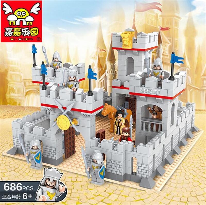 ФОТО Medieval Lion Castle Carriage Building Blocks Enlighten 686pcs Sets Model Bricks Toys for Children P220
