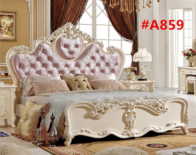 High Quality Pink Velvet French Style Bed For Princess A859 In