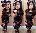 Летний стиль Девушки Мода цветочные casual спортивный костюм детская одежда набор рукавов экипировка + повязка 2016 летний новый детская одежда набор