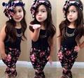 Muchachas del estilo del verano floral de La Moda casual traje de la ropa de los niños sin mangas + venda 2016 verano nueva ropa de los cabritos fijaron