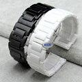 Alta calidad correa de pulsera banda de los hombres de cerámica negro 18 20mm correa de reloj venda de reloj de cerámica negro para samsung gear s2 accesorios