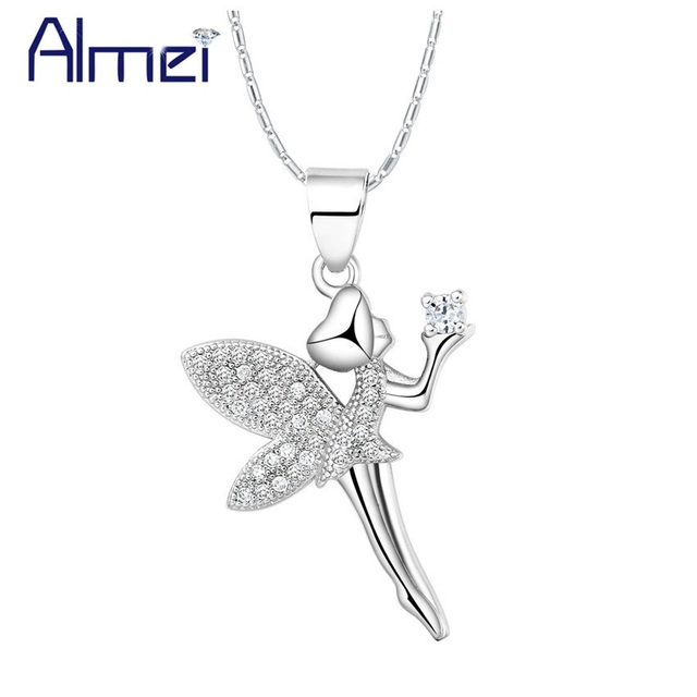 Almei 15 off wedding statement necklace women angel pendant silver almei 15 off wedding statement necklace women angel pendant silver color fairies necklaces pendants aloadofball