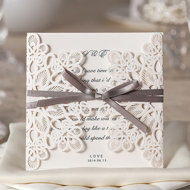 20pcs White Vintage Wedding Invitation Cards Laser Cut With Bowknot Ribbon Event