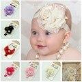 Headbands das crianças Lace Rose Headband Bonito Do Bebê Pérola Rose Flor Faixa de Cabelo Headwear Cabelo da Cabeça Banda Peças Acessórios