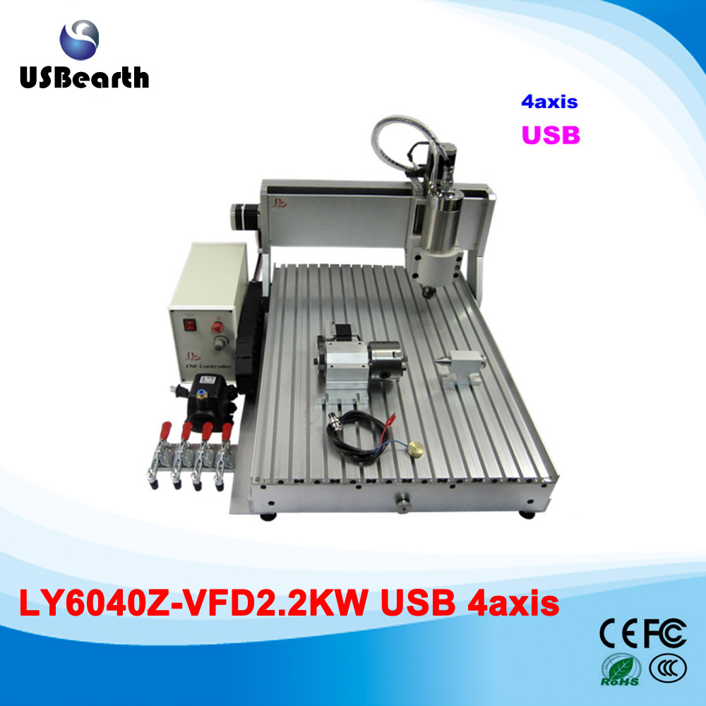 Russia no tax LY USB  metal milling cnc router, china homemade mini cnc router 6040z-s2.2kw 4aixs cnc engraver eur free tax cnc 6040z frame of engraving and milling machine for diy cnc router