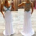 Rhinestone Largo Atractivo Bling de Lentejuelas Con Cuentas Sirena Vestidos de Noche de espagueti Blanco Stain Vestido de Noche Formal Del Vestido GY008