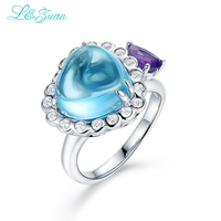 L Zuan 925 Sterling Silver Natural 7 24ct Topaz Blue Stone Prong Setting Ring Jewelry For