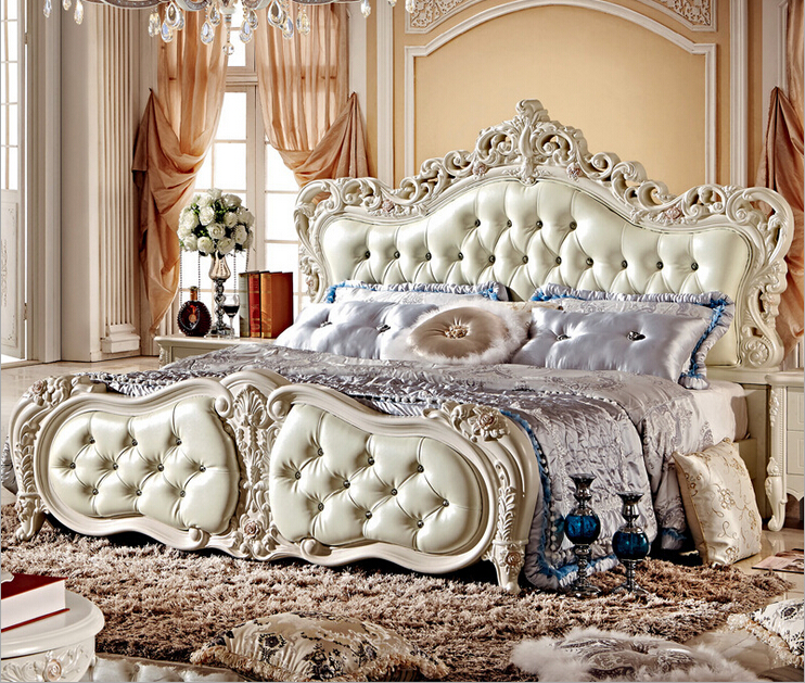 French Pearl White Color Bed With Storage Box 8870