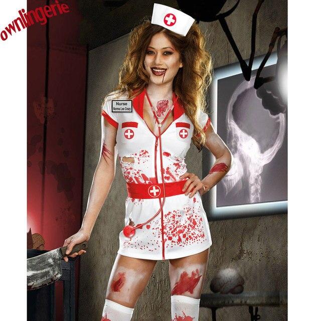 8eb995ec4346d Adult Halloween Scary Zombie Nurse Costume Women Sexy Scary Nurse Fancy  Dress Halloween Party Cosplay Spooky