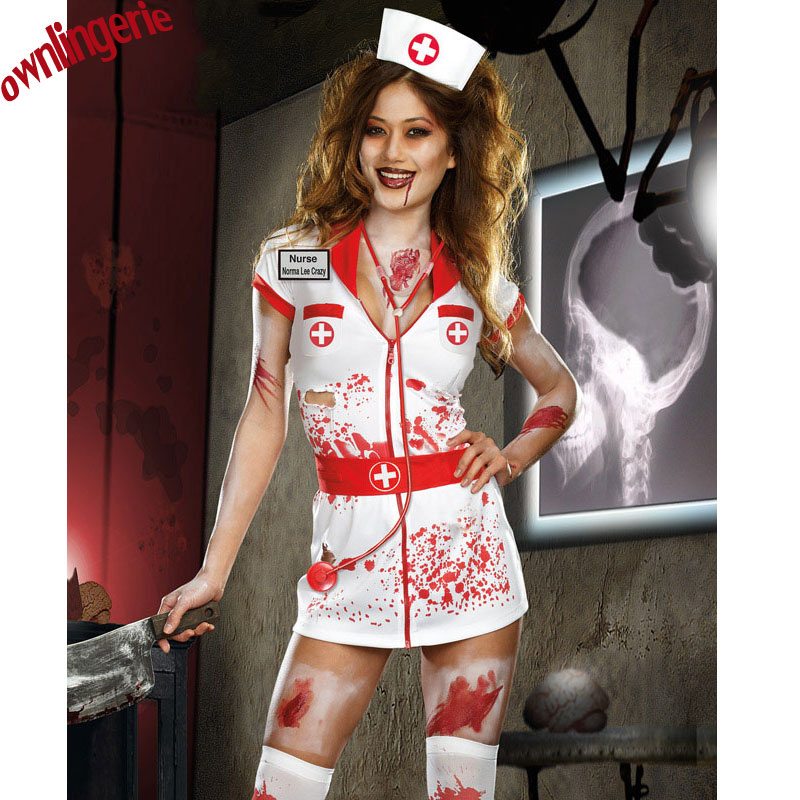 Adult <font><b>Halloween</b></font> Scary Zombie Nurse Costume <font><b>Women</b></font> <font><b>Sexy</b></font> Scary Nurse Fancy Dress <font><b>Halloween</b></font> Party Cosplay Spooky Splatter Costume image