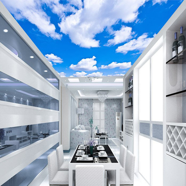 Blue Sky White Clouds Modern Style Plain Colour Moisture Ceiling Wallpaper Roll Restaurant Living Room Wall Papel De Parede
