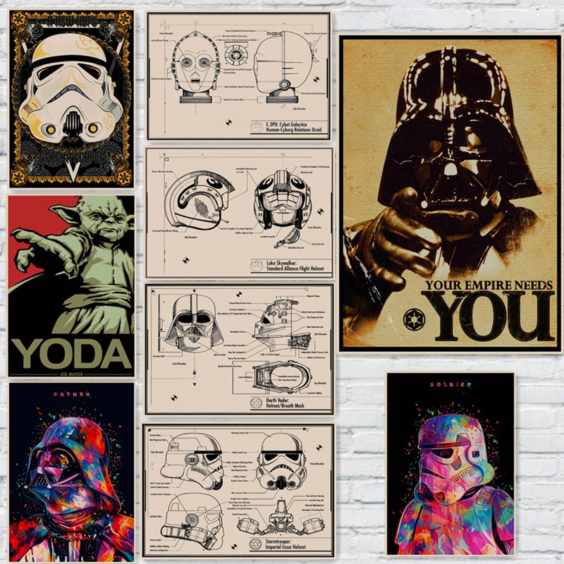 Star War Vintage Posters Wall Stickers Home Decoration I Want You Yoda  Father Hunter Master Soldier Droid Helmet Print
