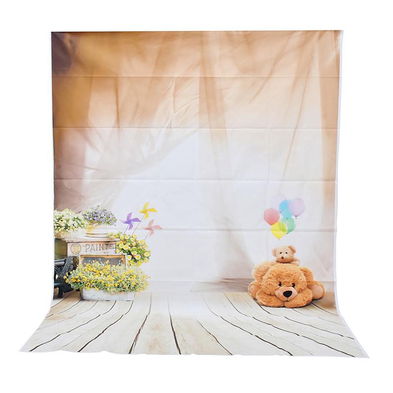 Prix pour 5x7ft Bébé Ours Enfants Plancher Mur Fenêtre Photographie Fond Studio Photo Prop photographique Toile de Fond tissu 1.5x2.1 m
