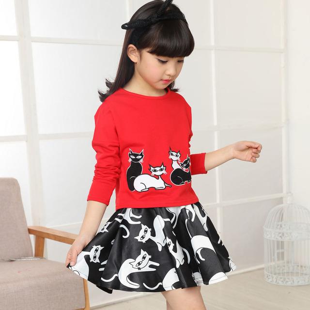 Meninas roupas de algodão marca roupa das crianças dos desenhos animados t-shirt + saias 2 Pcs meninas conjuntos de roupas primavera crianças abrigo para meninas