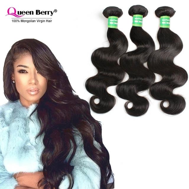 Mongolian Virgin Hair Body Wave 3 Pcslot Queen Berry Unprocessed 8a