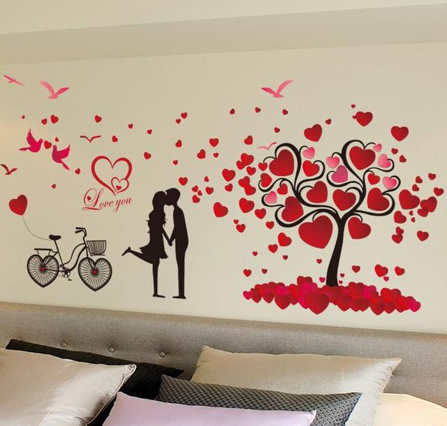 Romantic Love Tree and Bike Wall Stickers for Wedding Decor Living Room Bedroom Sofa Setting Home & Romantic Love Tree and Bike Wall Stickers for Wedding Decor Living ...