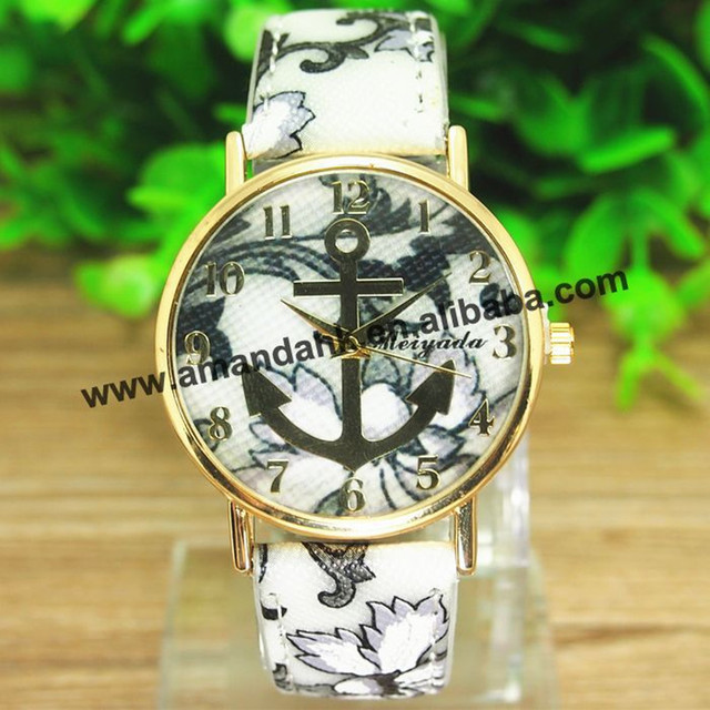 100pc/lot New Arrival Fashion Leather Flower Anchor Watch For Women Dress Quartz Watches Lady Fancy Watches