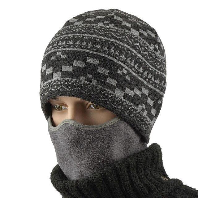 BooLawDee Мужчины зимние вязать 55-62 см упругой шапочка с маской бархат добавил ветрозащитный потепление плед шаблон серый синий H21002