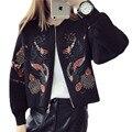De punto Suéter de La Rebeca Femenina 2016 Otoño y el Invierno ropa de Abrigo de Las Mujeres Tops Bordado Chaqueta De Punto prendas de Punto Escudo LH395