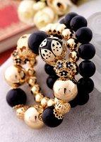 оптовая продажа ювелирных изделий 3 шт. комплект классический одетый черный браслеты винтаж цветами мода браслет sjs028 бесплатная доставка