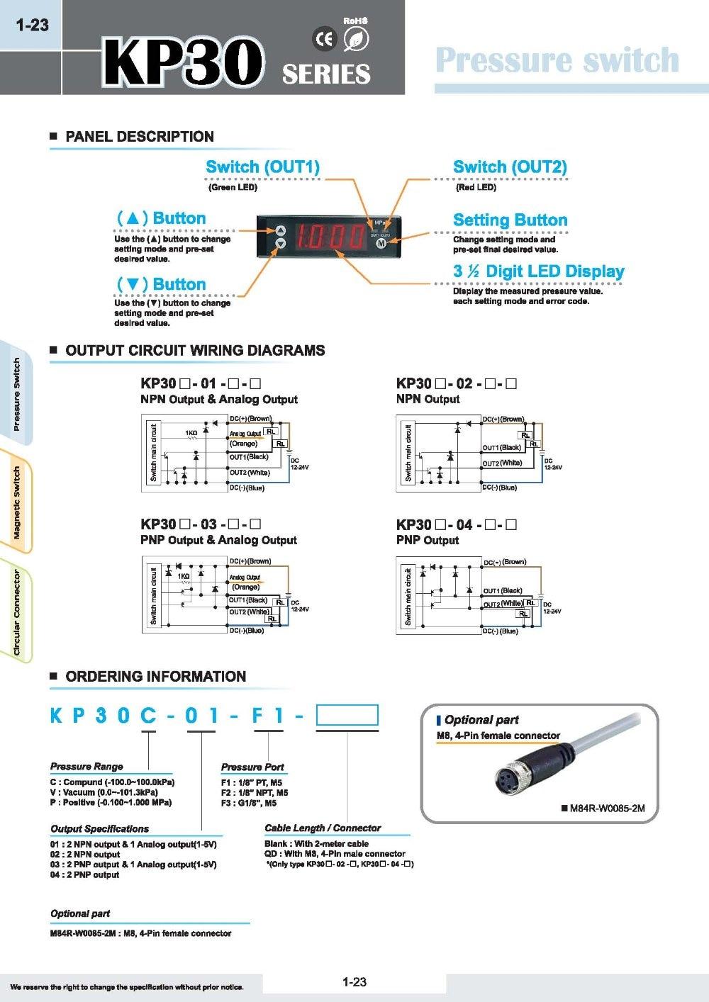 KITA digitale druckschalter KP30P 02 F1 0,1 ~ 1.0MPa DC12 24V 2 NPN AUSGANGSSTUFE in KITA digitale druckschalter KP30P-02-F1-0,1 ~ 1.0MPa DC12-24V 2 ...
