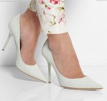 Frauen High Heel Pumps 2016 Weiß Plus Size Damen Pumpen günstige Modest Partei Schuhe Spitz Chaussure Femme Schuhe Für frauen
